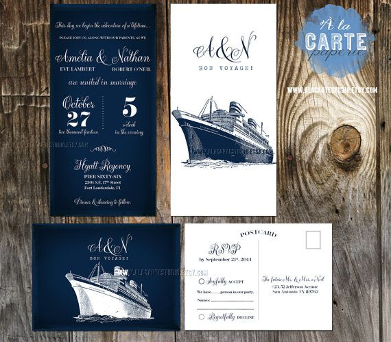 cruise ship wedding invitation rsvp info card destination illustrated wedding invitation sealing sea nautical wedding navy blue wedding