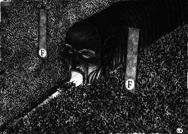 Dystopic politics: Bastian Kupfer for Fabulantes, 2017. #bastiankupfer #sci-fi #dystopia #fascism #dictatorship #crowd #leader #politics #illustration #art #fabulantes