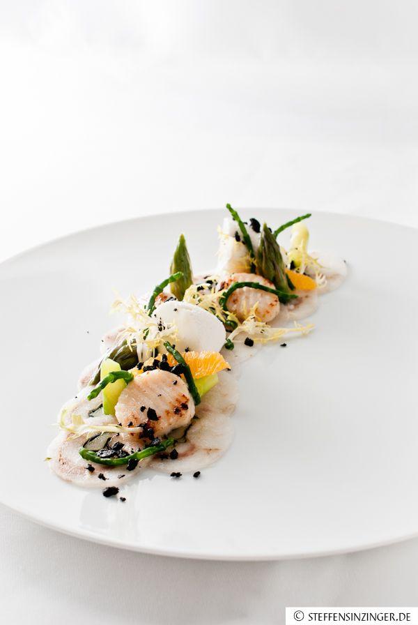 loup de mer   scallop   passe pierre   orange   green asparagus