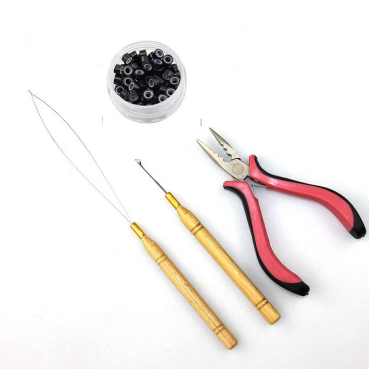 I Tip Hair Extensions  Kits Use For 1bottle 100pcs Silicone Micro Rings Beads+1 Hook Needle+1 Loop Threader +1Extensions Plier