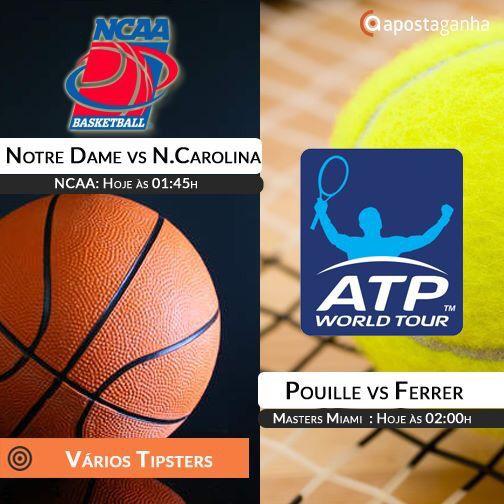 A noite ainda tem o basquete universitário estadunidense e o Masters 1000 de Miami. Confere os prognósticos:  http://www.apostaganha.com/2016/03/27/prognostico-apostas-lucas-pouille-vs-david-ferrer-miami-746933/  http://www.apostaganha.com/2016/03/27/prognostico-apostas-notre-dame-vs-north-carolina-ncaa-8463/  http://www.apostaganha.com/2016/03/27/prognostico-apostas-nicole-gibbs-vs-garbine-muguruza-miami-9346…