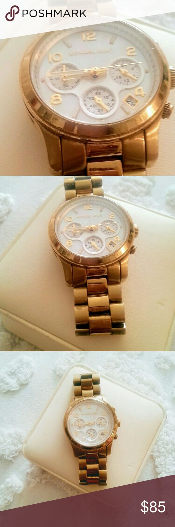 🆕 Michael Kors Steel  Big Face Watch Super cute and Preppy watch in good condition. The gold is starting to fade on parts of the watch and a little dull - Please see last 3 photos. Otherwise still a great watch. Can be worn immediately. Michael Kors Accessories Watches