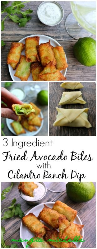 With only 3 ingredients, these fried avocado bites with cilantro ranch dip are the perfect appetizer to make for your next backyard BBQ ~ www.mangiamichelle.com