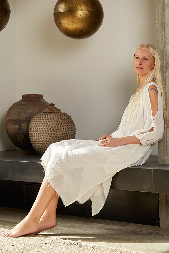 ROSE COTTON GAUZE COLD SHOULDER PEASANT DRESS, Kirsty Hume x Velvet by Graham and Spencer.
