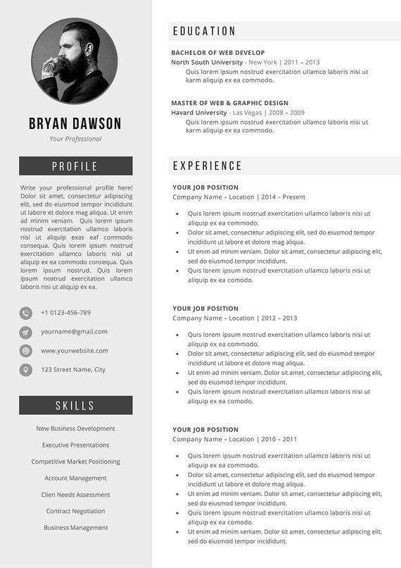 Resume Template Cv Template Cover Letter For Word Simple Etsy Cv Template Resume Template Resume Examples