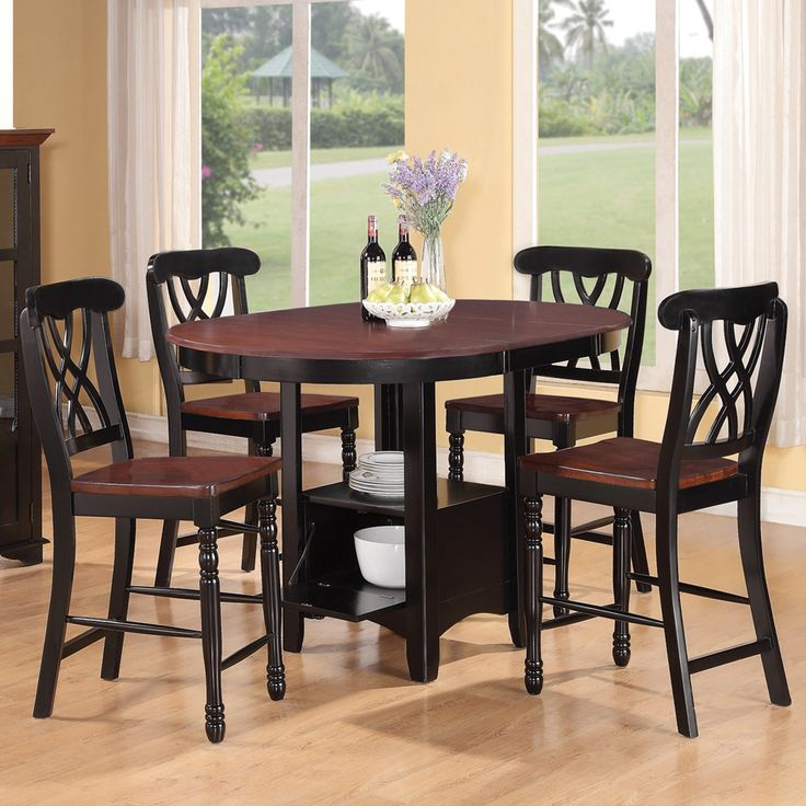 Counter Height Gathering Table With Storage : Addison Counter Height Gathering Table & Stools by Coaster Round ...