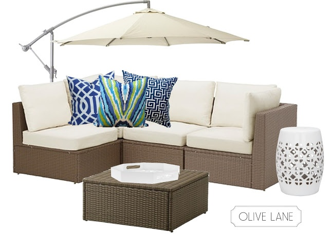 Outdoor Design Lounge Sectional Trina Turk Peacock Pillows White and Blue Ikea Arholma
