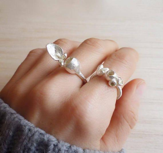 Sterling Silver Botanical Ring - Adjustable Sterling silver