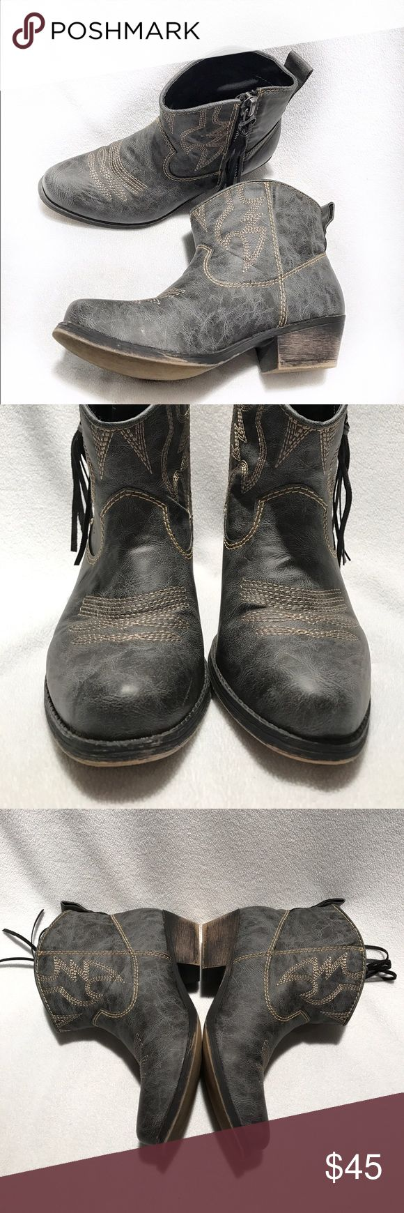 🆕Big Buddha • Gray Distressed Ankle Cowboy Boots Worn | Excellent Condition | Distressed Look | Gray Coloring | Only Sign of Wear on Inside | Fringe Ties on Zippers | Zippers on Both Outside Sides | Hits Ankle |🚫 Trades | More 📸 Upon Request | Ask Any Questions Needed To Help With Decision 🙋🏽| Bundles & Offers Are Welcomed ❤️| Big Buddha Shoes Ankle Boots & Booties