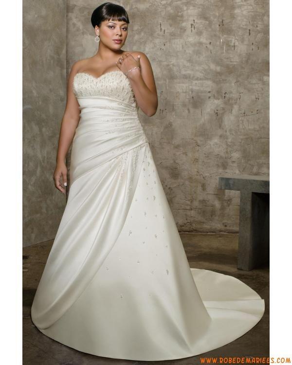 robe de mariée taille plus satin perlé de mariée robe de grande ...