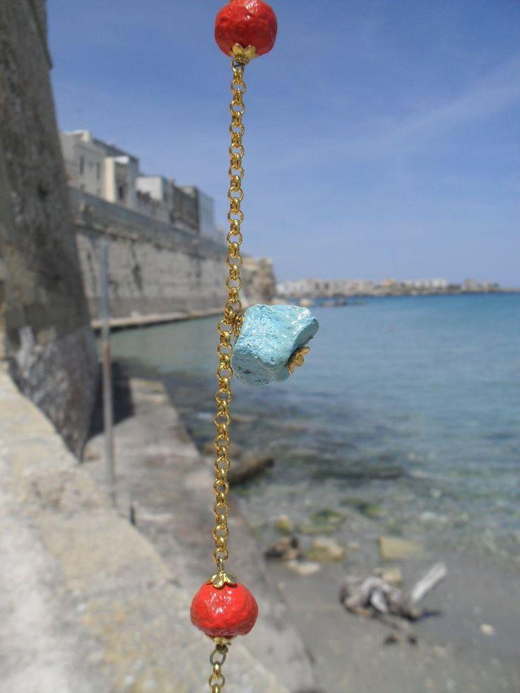 papier mache and golden aluminium necklace € 49