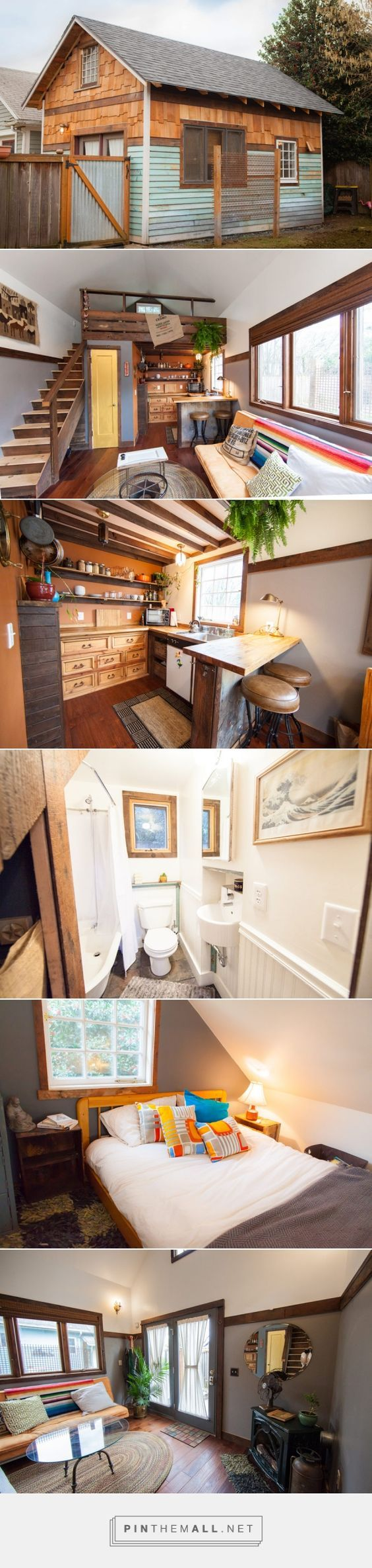 A tiny home built from a restored old garage in Portland, Oregon. Jenny and Michael's Tiny House | Tiny House Swoon