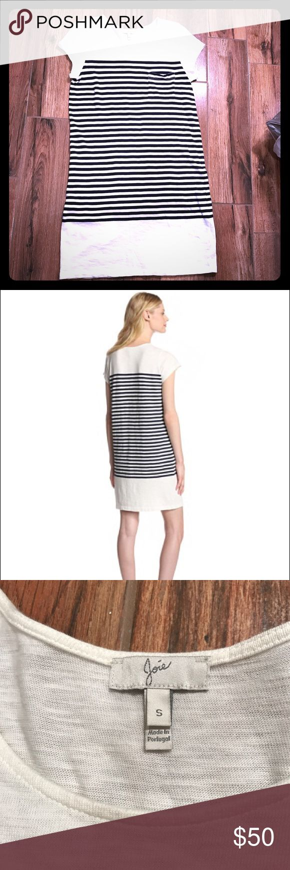 Joie Courtina Cotton Slub Striped Short Dress SZ S Joie Women's Courtina Cotton Slub Striped Short-Sleeve Dress- Navy/White   Skinny two-tone stripes add a sporty touch to a casual dress cut from cotton jersey that's as soft and comfy as your favorite tee.  Crewneck. Cap sleeves. Chest patch pocket.  ❤️️❤️️❤️️Mint like new condition❤️️❤️️❤️️ Joie Dresses Mini