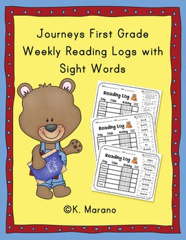 This packet includes weekly log sheets that include the weekly sight words from the First Grade Journeys Reading Series. Each sheet is set up to record the books read at home Monday-Friday. Each sheet has the weekly sight words printed along the side.