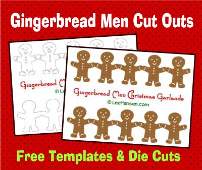 Gingerbread men Christmas deocrations, paper garland template printables in color and black and white  plus die cut file freebie for personal use (STUDIO) cut file) at LeeHansen.com get crafty!  #silhouette #diecut #christmas