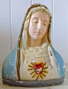 Antquité. Collection. Art religieux. Vierge en plâtre L