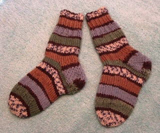 MommaBearKnits2(Too)  Socks for Callum, worked in Patons Kroy Jacquard.