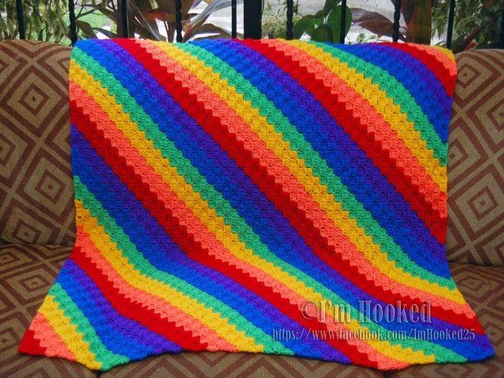 Corner to Corner Afghan Rainbow using pattern http://www.redheart.com/free-patterns/crochet-corner-corner-throw