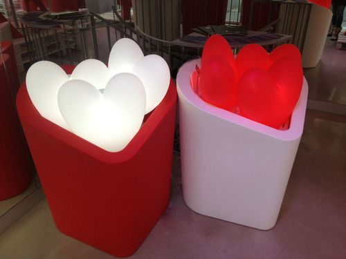SLIDE Showroom in Milan. Love is in the air! MON AMOUR pots and LOVE lamps. #red #heart #valentinesday #valentine #milan