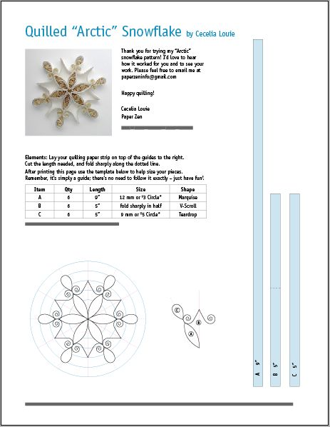 Let it snow! After seeing how popular my snowflake grid has been in my Craftsy class , I've designed a simple quilled snowflake pattern, ...