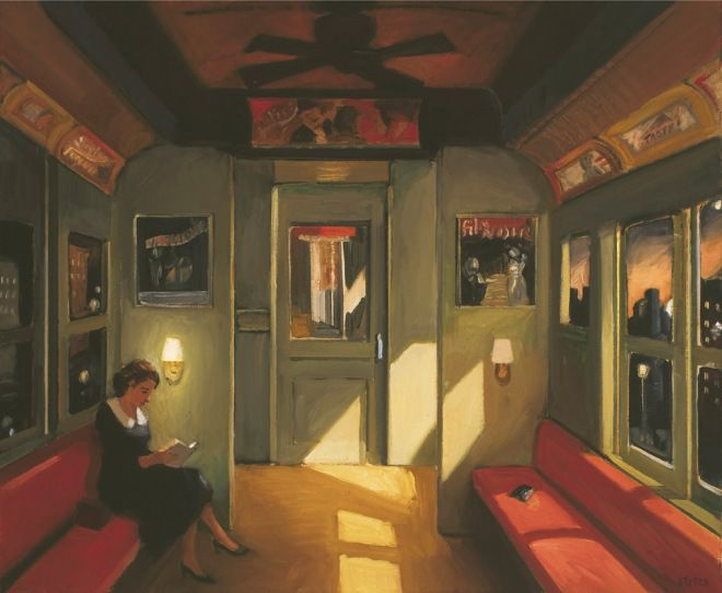 Bolsa perdida, trem noturno, 2005 Sally Storch (EUA, 1952) óleo sobre tela, 75 x 75 cm