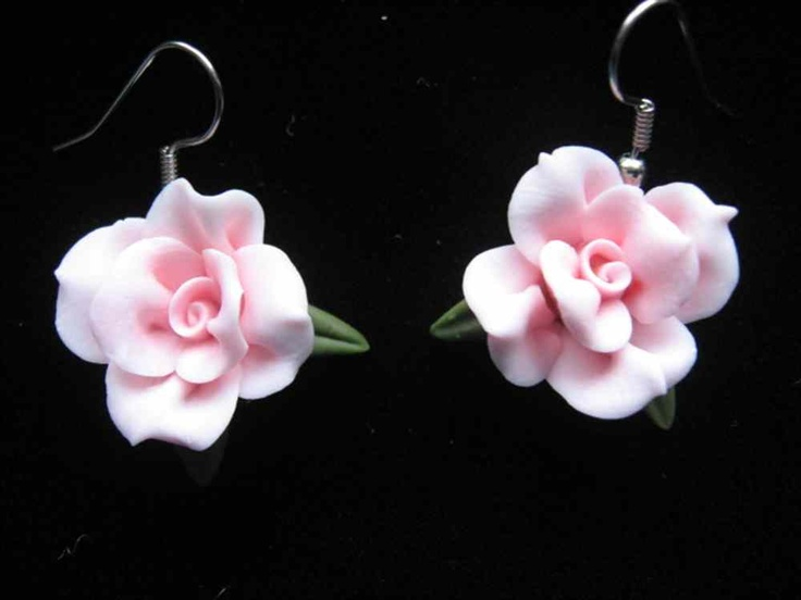 Pink Cold Porcelain Earrings - ShopHandmade