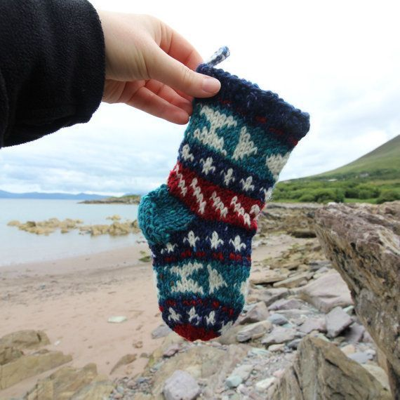 knitting pattern SantasSockCentral - Knit Christmas Stocking Pattern for Tiny Stocking Ornament Fair Isle with detailed instruction Santa Sock PDF how to knit your own #knitting #knittingpattern #christmas #stocking #ad #etsy #oybpinners