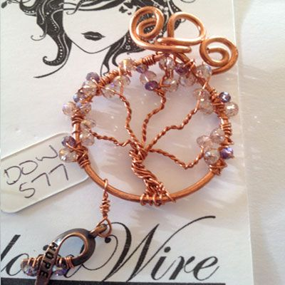 doinWire handcrafted copper Tree of Life with pearly pink and mauve wrapped…