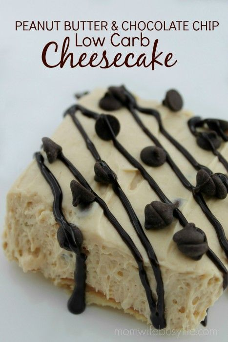 Peanut Butter & Chocolate Chip Low Carb Cheesecake Recipe #lowcarb