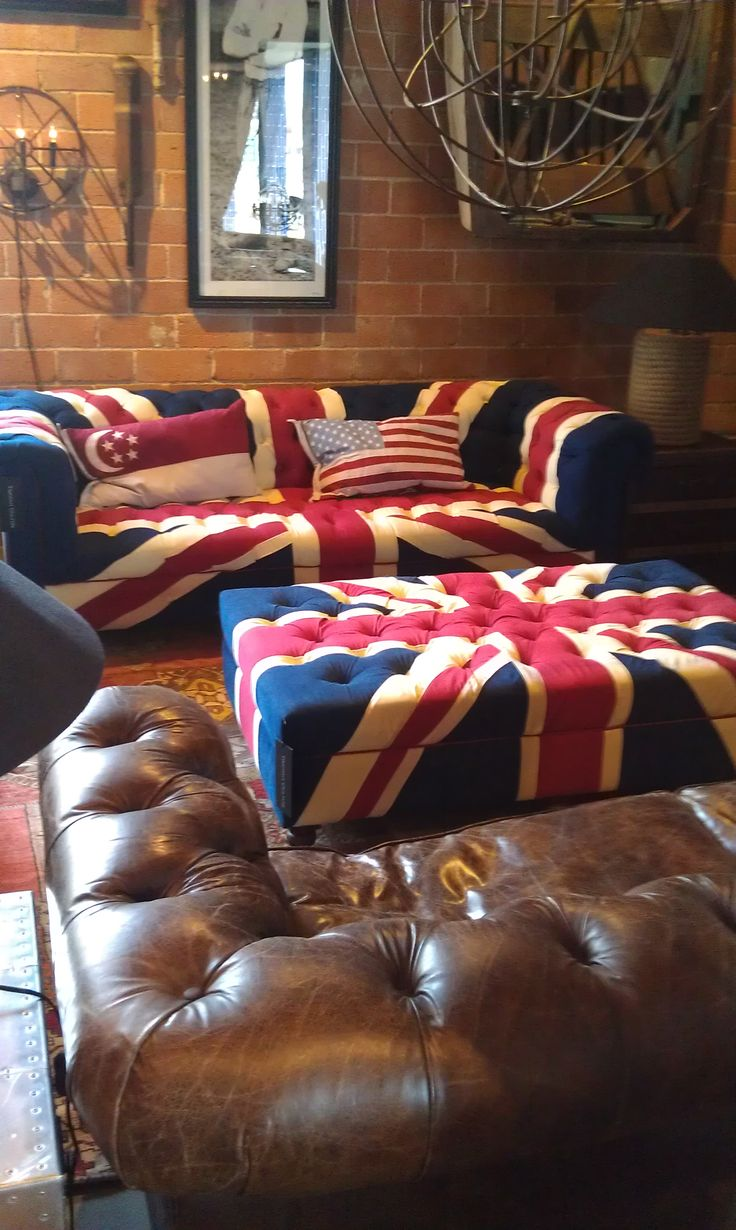 masculine bold interior design Timothy Oulton Union Jack Sofa . Dallas TX