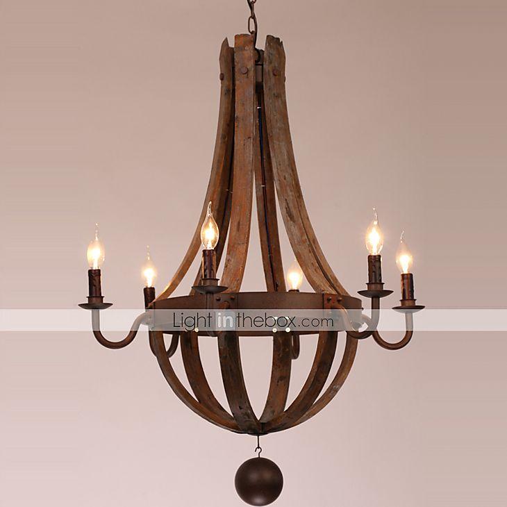MAX40W Lysekroner , Vintage / Kontor / Bedrift / Lanterne / Rustikk Maleri Trekk for Candle stil Tre/ BambusStue / Soverom / Spisestue / 3882196 2016 – kr.2.891