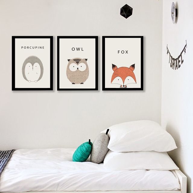nordique animal toile art imprimer peinture affiche de cerf et hibou renard et porc - Peinture Pour Chambre Romantique Rose Pale Et Vert Deau