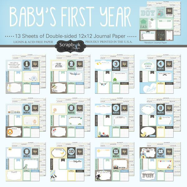 Scrapbook Customs   Baby Boy Collection   12 x 12 First Year Paper Pack at Scrapbook com