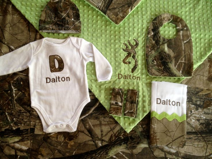 Real tree camo baby boy personalized 6 piece gift by Flatoutfunky, $98.00 would love this for the twins