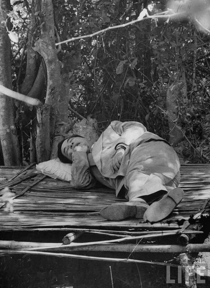 5-1956 South Vietnam's President Ngo Dinh Diem sleeping under the trees during his trip to refugee settlements | by manhhai