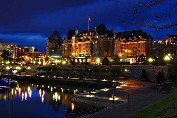 The beautiful Empress Hotel at night in Victoria, BC.