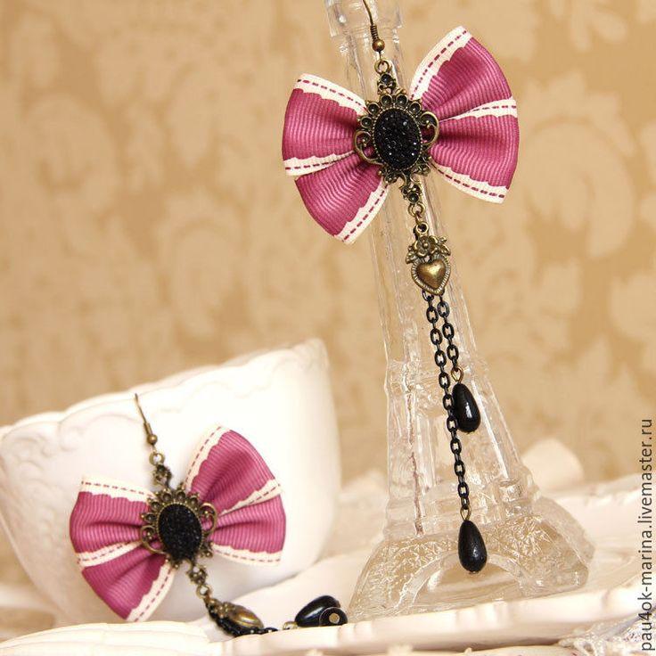 """Купить Винтажные серьги """"Розовые банты"""" - розовый, лиловый, серьги ручной работы, серьги банты"""