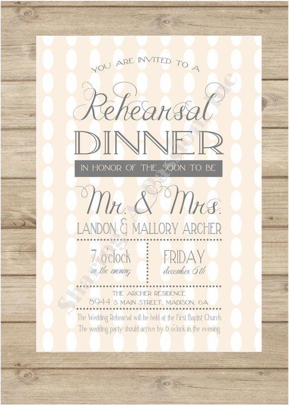 Rehearsal Dinner Invitations - Rehearsal Dinner Invite - Wedding Rehearsal Invitation - Pink and Grey Invitation - DIY Printable Invitation on Etsy, $12.25