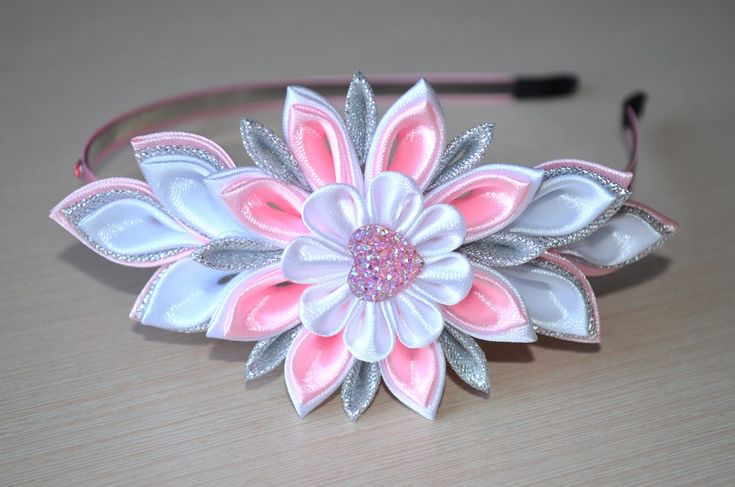 Ободок канзаши Мастер класс ободок своими руками Diy kanzashi flower hair band handmade