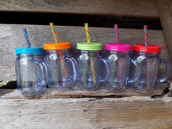 plastic mason jar tumbler with handle lid set plastic mason jar tumbler lid plastic mason jar swirly shake straw jar tumbler shatter proof - Mason Jar Drinking Glasses