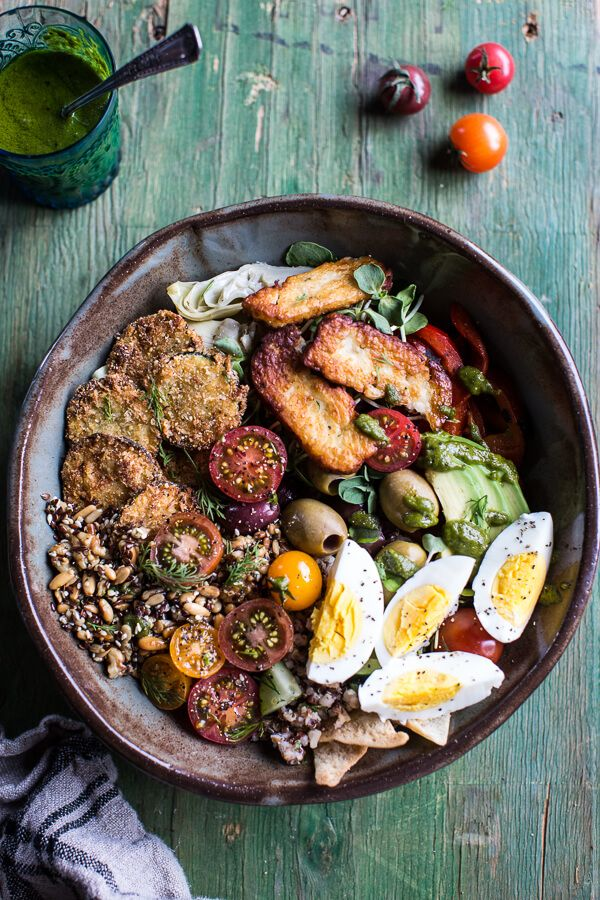 "Greek Goddess Grain Bowl with ""Fried"" Zucchini, Toasted Seeds and Fried Halloumi Vegan, gluten free and paleo. 
