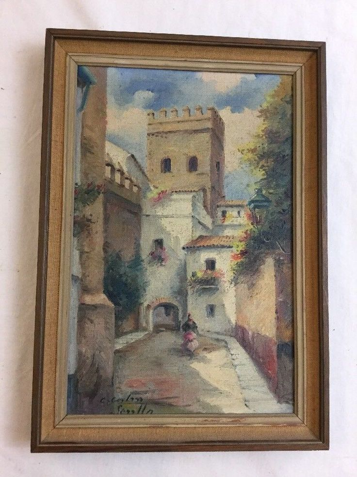 Vintage Signed Oil Painting Italian Courtyard with Period Frame #Realism