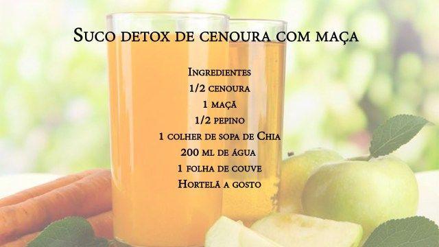 Suco Detox de cenoura com maçã http://detoxslimfunciona.com/receitas-de-suco-detox-100-natural-para-desintoxicar/