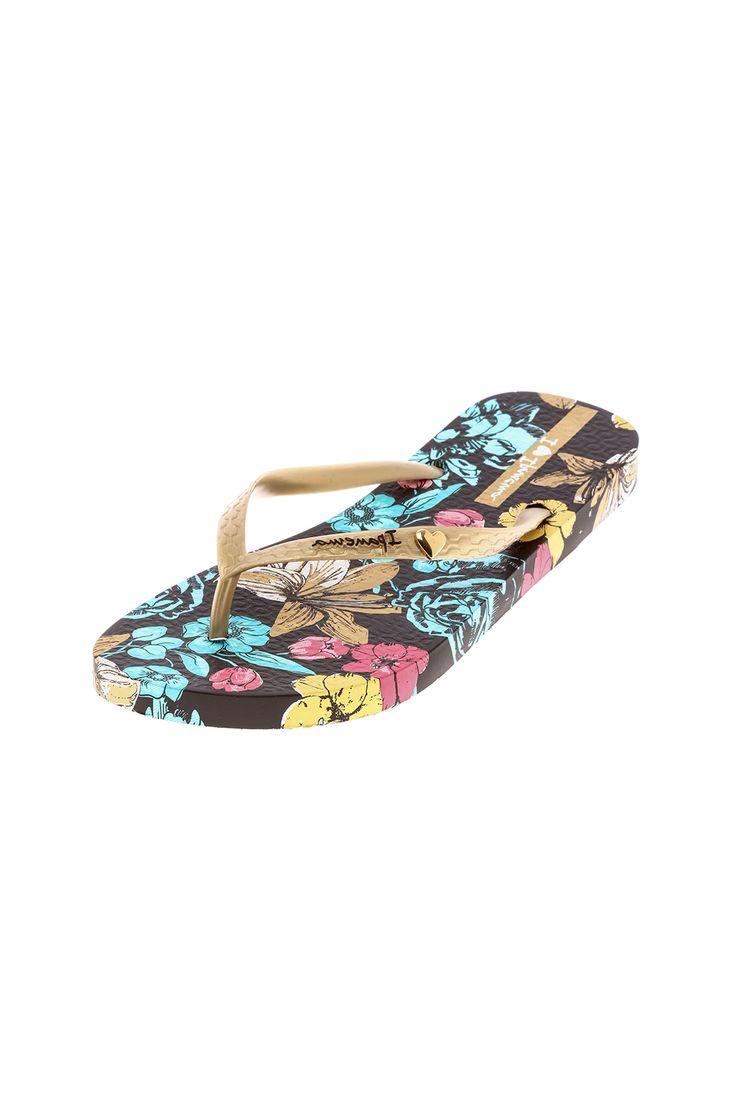 Ipanema Floral Flip Flops - Back Cropped Image