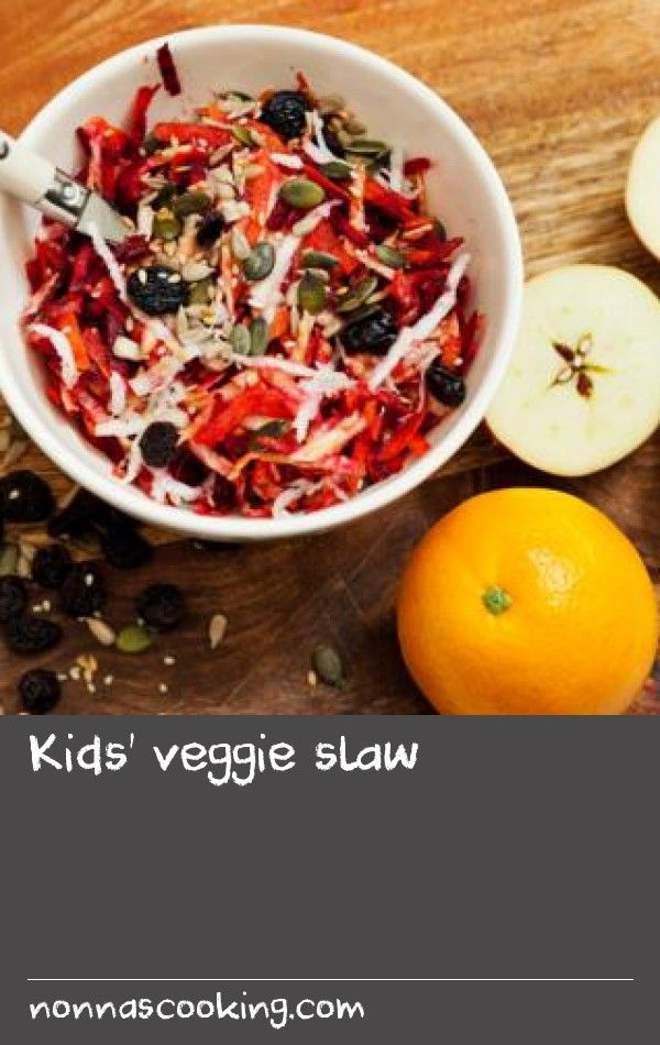 Kids' veggie slaw        Graters are fine for children to use but please do supervise them as graters can be really sharp. This sweet and fruity slaw can be served as a salad or you can add some natural yoghurt or a little mayonnaise for more traditional coleslaw to serve with barbecued burgers or chicken.