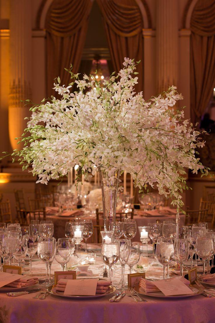 Cascading Orchid Centerpieces | Brian Dorsey Studios | The Plaza Grand Ballroom | Belle Fleur | TheKnot.com