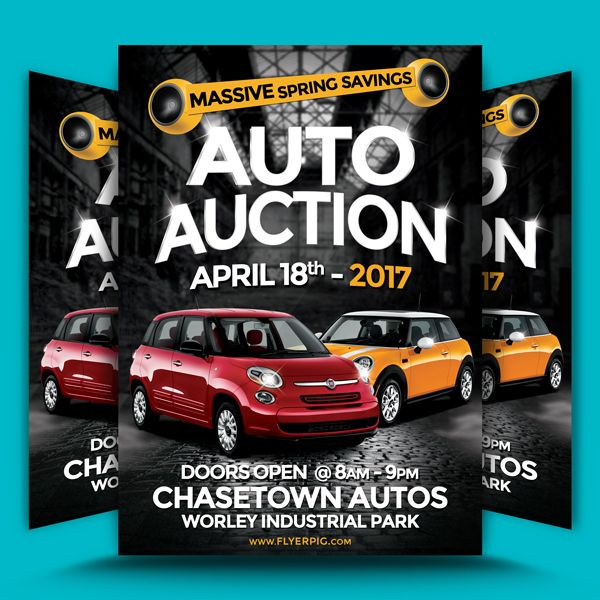 Auto Auction Flyer Template can be used to promote an auto sales, auto repairs or with your own images almost any promotional flyer. With the placeholder...