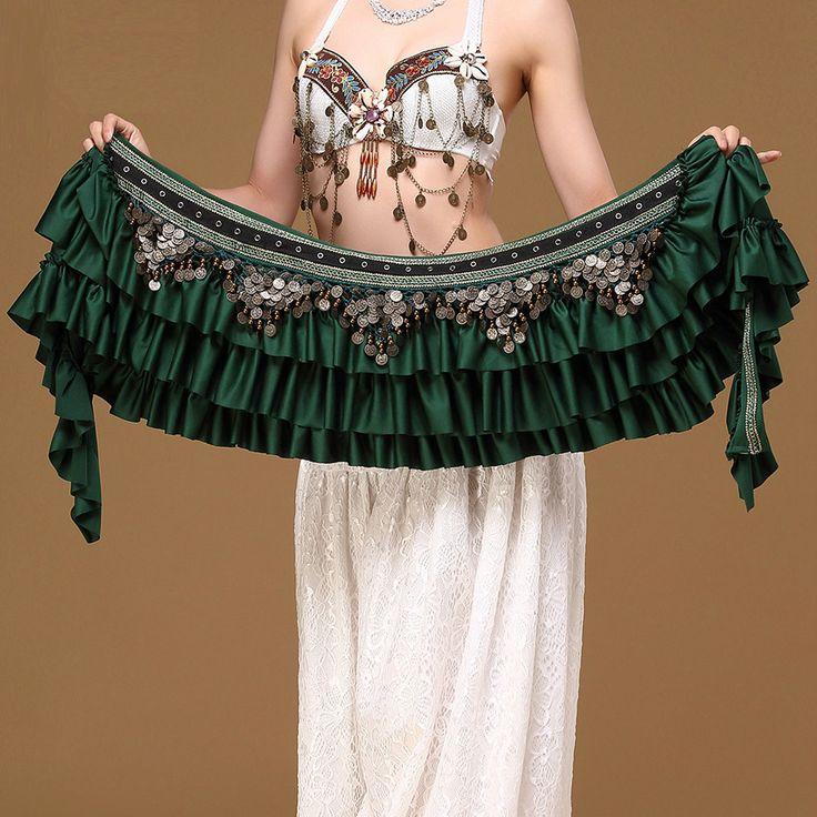 New! 01361 Deluxe Vintage Belly Dance Hip Scarf Satin Coins Belt Costume Skirt #Mimidance