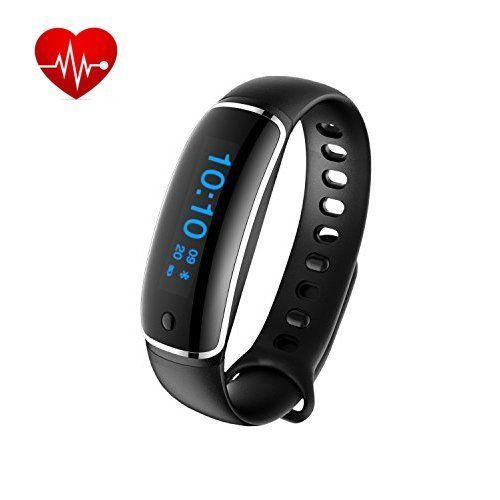 Smart Bracelet:Fitness Activity Tracker Heart Rate Blood Pressure Monitor Smart Wristband Waterproof Sport Watch with Pedometer Sleep Monitor for iPhone Android, Black--23.99