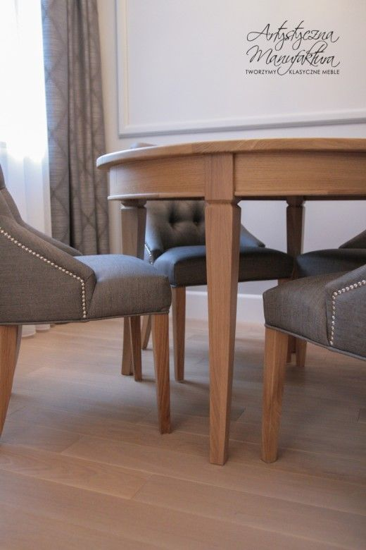 oak table, classic round wooden table
